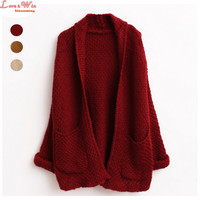 Women Long Plus Size Cardigans Curling Sweater Brand Knitting Outwear Jersey Hemming Sweter Coating