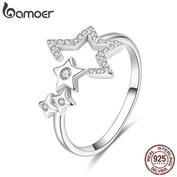BAMOER Authentic 925 Sterling Silver Luminous Star Waitting Adjustable Finger Rings for Women Wedding Engagement Jewelry SCR452