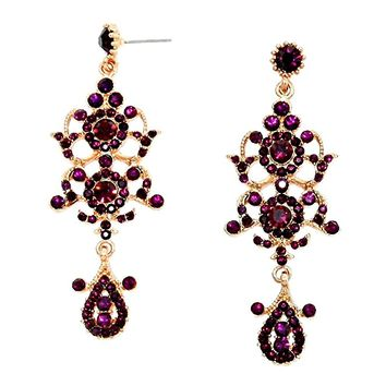 Chic Lady Burgundy Purple Austrian Crystal Elegant Bohemian Boho Statement Chandelier Long Gold Earrings