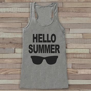 Hello Summer Tank Top - Funny Beach Tank - Summer Break Tank Top - Vacation Tank - Boho Tank - Bathing Suit Cover Up - Bikini Cover Up