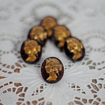 "Stunning Vintage Glass Cameo Buttons Black and Gold 3/4"" Oval Classic Buttons set of 2 aubergine, spicy brown, Coat, Jacket or Dress Buttons"