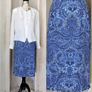 90s paisley skirt / size L 14 / 16  / summer skirt / mid length