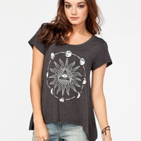 Glamour Kills Lunar Eclispse Womens Hi Low Tee Heather Black  In Sizes