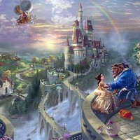 "Thomas Kinkade Disney Dreams Collection Signed and Numbered Limited Edition Giclee:""Beauty and the Beast - Falling In Love"""