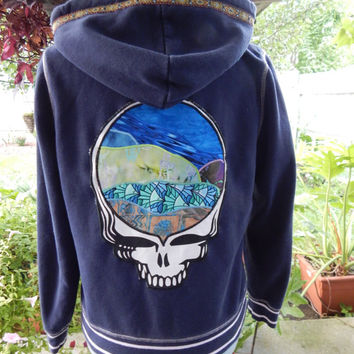 Upcycled Zip Up Hoodie Grateful Dead Steal Your Face  hoodie OOAK Size M Patchwork Hippie clothes, boho chic, OOAK Hoodie,Womens Hoodie