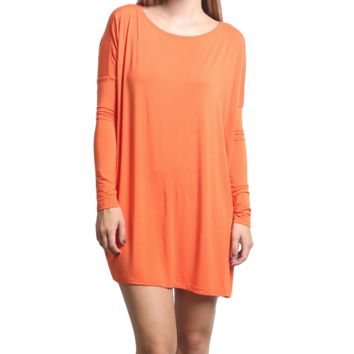 Orange Piko Tunic Long Sleeve Dress