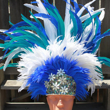 Tahitian costume, dance headpiece in white, turquoise, blue, extra large headpiece, headdress, polynesian, paua and tiare shells