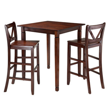 Kingsgate 3 Piece Dining Table with 2 Bar V-Back Chairs