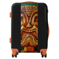 Fun, fierce, vintage retro wood tiki face photo luggage