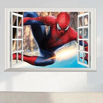 Spider Man 3D Window View Large Wall Sticker Vinyl Decals Mural Art Home Decor Children Boys Kids room Superman Super Hero