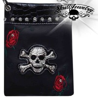 'Red Rose' Skull/Crossbones Messenger Bag (purse011)