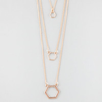 Full Tilt 3 Row Hexagon Necklace Gold One Size For Women 25359862101