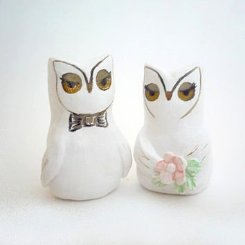 Wedding Cake Topper - Bride and Groom Owls - Handmade by oenopia