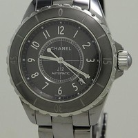 CHANEL REF H2979 LADIES GREY CERAMIC 38MM AUTOMATIC J12 ON BRACELET WITH B&P