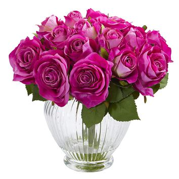Silk Flowers -9 Inch Purple Rose Floral Arrangement In Elegant Glass Vase