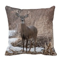 Deer Buck Antlers Nature Wild Life Photography Pillows
