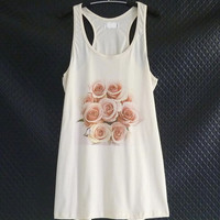Pink rose tank top flower bouquet prints off white tshirt/ A line tank dress/ organic cotton tee/ teen girl tops women tunic top size M
