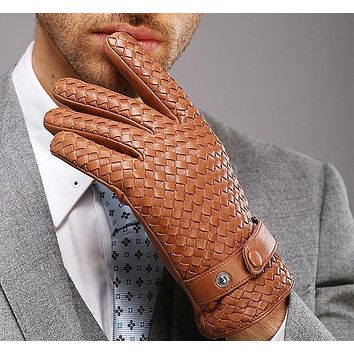2018 New High-end Weave Genuine Leather Gloves