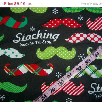 Flannel Christmas fabric with mustaches Staching Through the Snow cotton quilting sewing material by the yard
