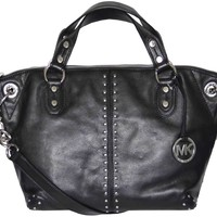 Michael Kors Black Leather Astor Large Chain Satchel Tote Bag Handbag