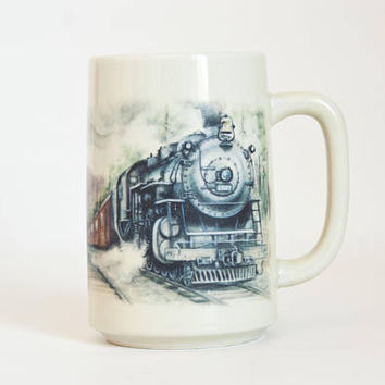 Vintage Otagiri TALL Train Mug, Steam Engine Coffee Cup, Made in Japan Father's Day Gift