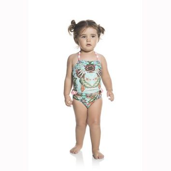 Ondademar Baby Girls Amazonia High Neck One Piece Swimwear
