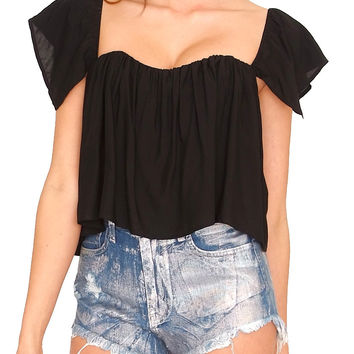 Santorini Off-Shoulder Crop Top - Black
