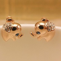 sweet lovely elephant rhinestone earring
