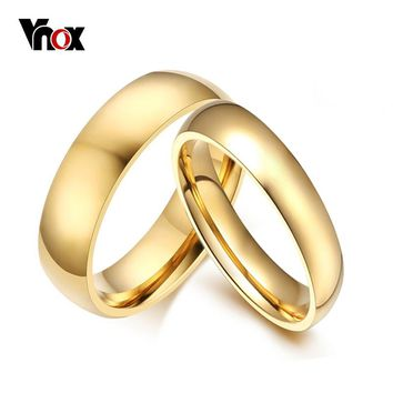Vnox Simple Wedding Bands Rings 2pcs/lots Gold-color Engagement for Women Men Trackable Service