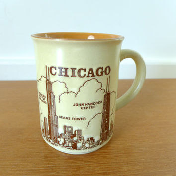 VIntage Chicago skyline mug featuring the Sears Tower and John Hancock Center