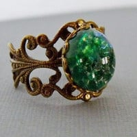 Green Opal Ring With A Antique Brass by pinkingedgedesigns on Etsy