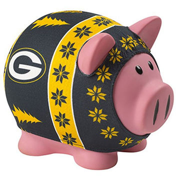 NFL Green Bay Packers Sweater Pig Bank, Green