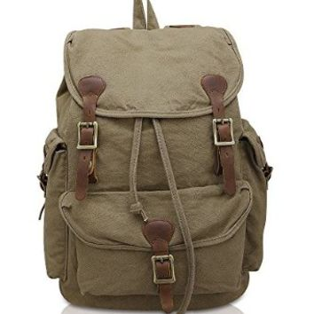 Kattee Vintage Canvas Genuine Leather Backpack Casual Rucksack Army Green