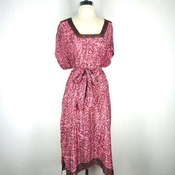 Kaftan Dress / Tunic Caftan / Swim Coverup / Hand Made / Vintage Indian Sari / Mauve Pink Abstract Floral Print / Limited Edition
