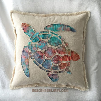 Sea turtle applique pillow cover in tie dye batik with turquoise orange pink and natural unbleached distressed denim boho pillow cover 18""