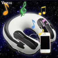 Vegou Musical Pillow Sleeping Pillow Hot Headphone Print Simple Travel Pillow U shaped Neck Speaker  Foam  Rest Airplane Pillow