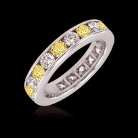 2.50 ct. diamonds yellow canary eternity wedding band