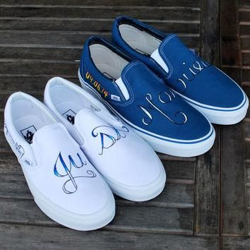 Hand Painted Just Married Disney theme wedding Vans shoes - Customizable