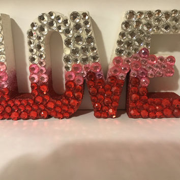 LOVE Block Letters with Rhinestones, glitter back drop