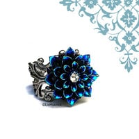 Glitzy Mum Ring. Adjustable Ring. Glam Cocktail Ring by Liz Hutnick. Stage Wear. Navy, Blue, Teal and Purple. Holiday Fashion.