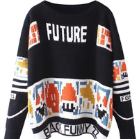 Black Letter Pattern Long Sleeve Knit Sweater