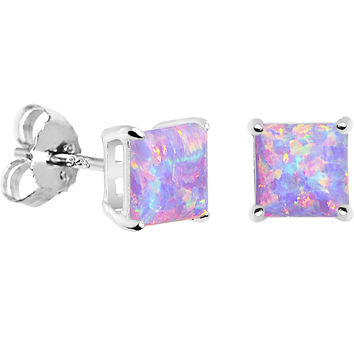 6mm Multi Square Sterling Silver Synthetic Opal Stud Earrings