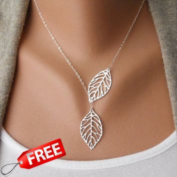 New Stunning Celebrity Sideways Vertical Tree Leaf Charm Infinity Pendant Necklace
