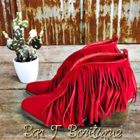 Savannah Fringe Booties ~ Red