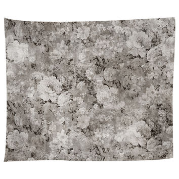 Black White Flowers Tapestry