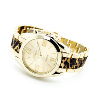 Leopard print metal watch