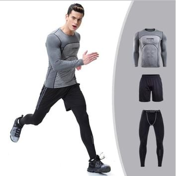 Hot Men's Running Sets 3 pieces/sets Compression 11 colors Sportswear Men Tights Clothes Gym Fitness Jogging Sportswear