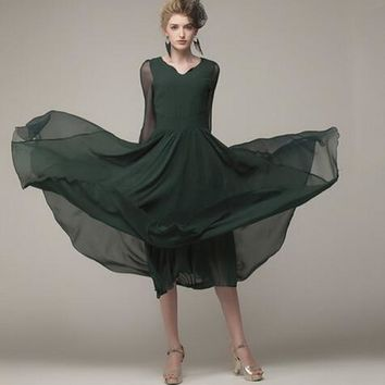 High Quality Elegant Retro Long Sleeve Silk V Neck Chiffon Dress