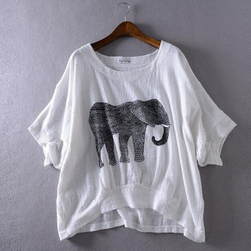 Elephant printing loose white T-shirt
