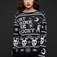 Eat Drink and Be Spooky Skull Reindeer Ugly Christmas Sweater